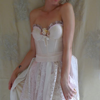 Petal Bustier Dress... Size M/L... fairy wedding bridesmaid boho whimsical free people eco friendly corset lace