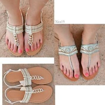 NEW Women's Summer Casual Flat Strappy Thong Gladiator Sandals Shoes Size