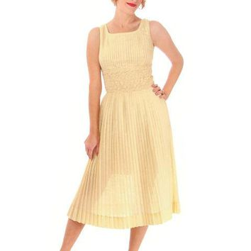 Vintage Day Dress Pale Yellow Crystal Pleated 1950s Small