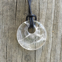 Crystal Quartz Circle Stone Pendant Necklace
