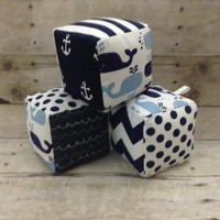 Nautical baby soft block toys - set of 3 navy white whales anchor baby boy toys - fabric minky blocks nursery decor