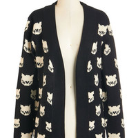 Sugarhill Boutique Critters Mid-length Long Sleeve Mew Know It's True Cardigan
