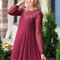 * Katana Lace Sleeve Sweetheart Neckline Dress : Burgundy