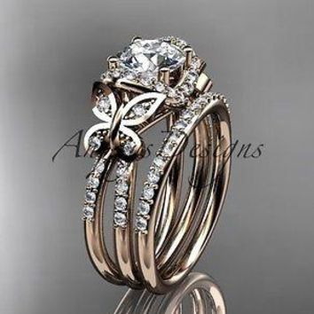 14kt rose gold diamond butterfly wedding ring, engagement set ADLR141S