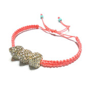 Coral Knotted macrame rhinestone spikes friendship bracelet - coral cord gold plated clear crystals cone charms free people inspired 2013