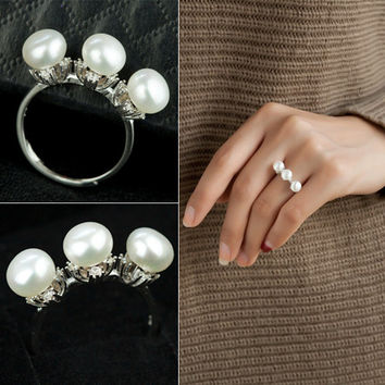 New Arrival Gift Shiny Stylish Pearls 925 Silver Jewelry Ring [4989658564]