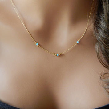 Opal Necklace, Beaded Blue or White Opals, Girlfriend Gift, Fine Fashion Jewelry, Minimal Necklace [N-102]