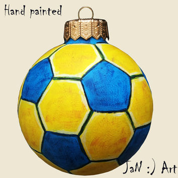 Christmas ball Christmas Ornaments Bauble Hand painted Glass New Year Christmas Craft Gift for him Football Personalized CUSTOM ORDER