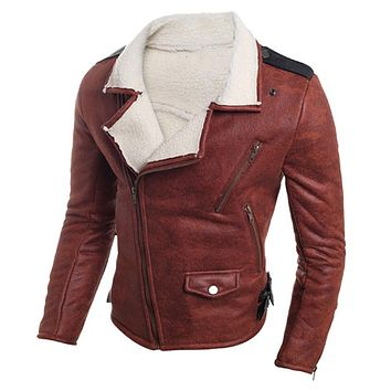 Fashion Fur Leather Jackets Casual Vintage Men Fur Leather Motorcycle Jacket Men