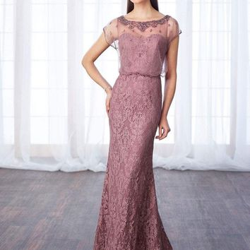 Cameron Blake - 217652 Beaded Illusion Lace Blouson Long Dress