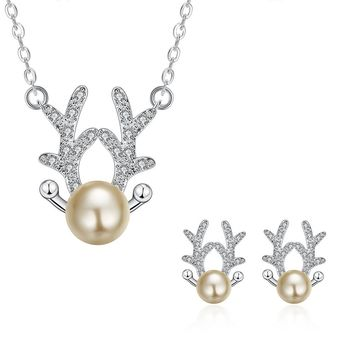 Christmas Gift Jewelry Sets Reindeer Silver Chain Pendant Necklace and Stud Earrings Set