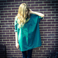 Vintage Green Gold Studded Collar Oversized Shirt Dress