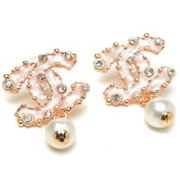 Chanel Woman Fashion Logo Diamonds Pearls Stud Earring For Best Gift
