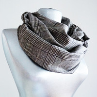 Handmade Tartan Infinity Scarf - Wool - Brown Creme - Winter Autumn Scarf - Men Unisex Scarf