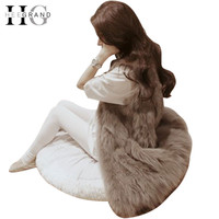 HEE GRAND 2016 Autumn Winter Faux Fur Vest Colete De Pele Falso Jacket Casacos Femininos Womens Coat Plus Size WWC047