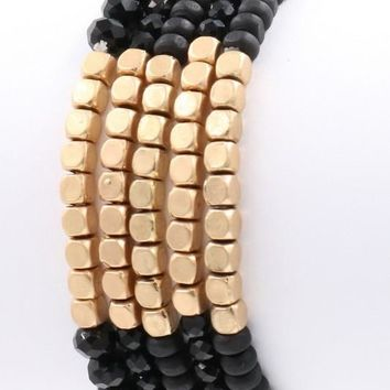 Gold Beaded Stretch Bracelet