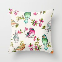 birds; Throw Pillow by Pink Berry Patterns