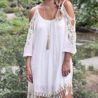 Perfect Situation Open Shoulder Fringe Dress – Ivory
