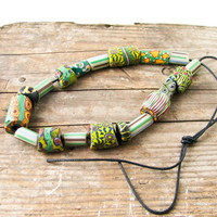 19 African Trade Beads - Shades of Green - Vintage