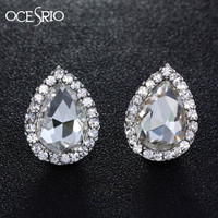 OCESRIO Cute Silver Stud Earrings Water Drop Small Crystal Stud Earrings for Girls Women Fashion Earrings Bijoux gifts ers-h92