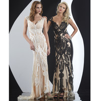Black & Nude Intricate Applique Dress Prom 2015
