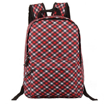 Unisex Casual Oxford Grids Bookbag Backpack Daypack Travel School Bag