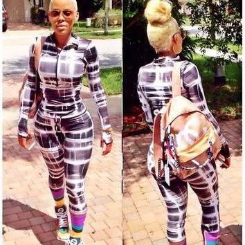 Abstract Print Zipper Collar Long Sleeve Jumpsuit
