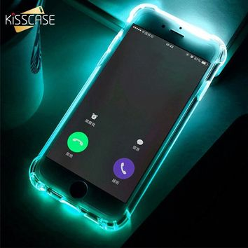 KISSCASE Call LED Light Case For iPhone 5 5s SE 6 6s Flash Silicone Cover For iPhone 6 6s 7 X 8 Plus Anti-knock Back Soft Cases