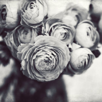 "Gray Flowers Still Life Art Print Black and White Flower Photography Ranunculus Flowers Monochrome Wall Art Decor ""Gray Bouquet"""