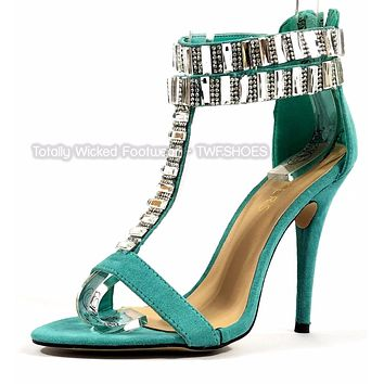 Baker Zigi Jayde Mint Green Rhinestone T Strap Open Toe High Heel Shoes