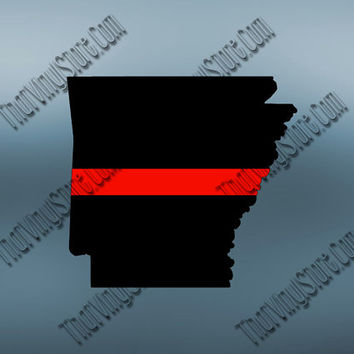 Arkansas Back the Red Flag Thin Red Line Vinyl Decal | Yeti Fire Decal | American Flag | Fire Red Lives Matter | Firefighter | 406