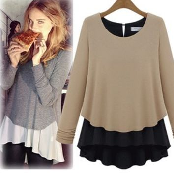 Block Long-Sleeve Chiffon Layered Shirt