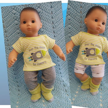 """American Girl Bitty Baby clothes Bitty Twins BOY """"Over the Moon"""" (15 inch)  playset top shorts pants socks"""