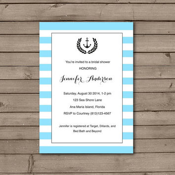Striped Anchor Bridal Shower Invitations in Blue, Pink, Purple or Green