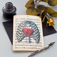 Red heart on human thorax greeting card with envelope - size 4x6 inches on Ivory Paper  - by NATURA PICTA