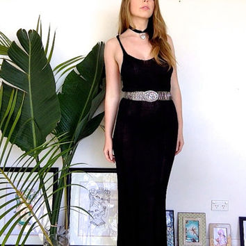 Vintage Crochet Knitted Black Maxi Floor Length Dress With T Racer Back