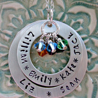 Mothers Day Mommy Necklace Hand Stamped Double Washer Open Circle Sterling Silver with Birthstones
