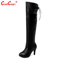 Two Style Womens Slim Thigh High Boots Sexy Fashion Elastic Bootie Chunky Thin Heels Over The Knee Bootines Mujer Size 34-43