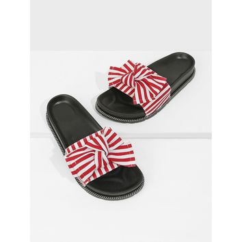 Bow Decor Slide Slippers