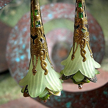 Artisan Earrings, Green Fairy Flower, Brass Filigree Wands, Green Elves