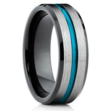 Turquoise Tungsten Ring -Black Tungsten Ring - Black Wedding Band - Ring