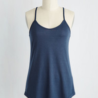 Peace and Kayak Tank Top in Navy   Mod Retro Vintage Short Sleeve Shirts   ModCloth.com