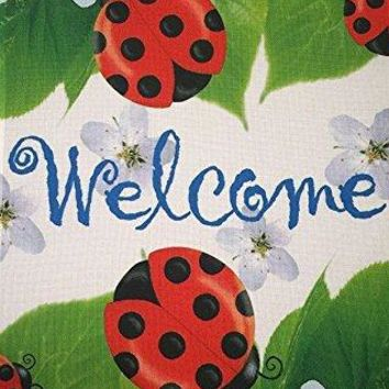 "51groups Ladybugs Welcome Garden Flag 12""X 18"" Welcome Sign Spring Decorative Flag Designer Artwork Cute Yard Ornament Small Banner Size"