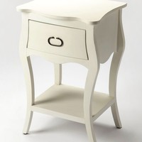 Rochelle Transitional Rectangular Nightstand White