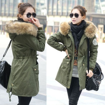 Women Lady Parka Winter Warm Thicken Fleece Trench Hooded Coat Jacket Outwea = 1697609924