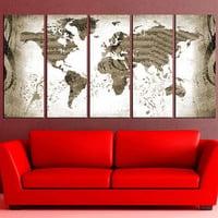 world map wall art, world Map Canvas Print, world map with music note extra large wall art canvas print,  No:hr6