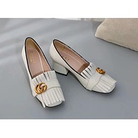 GUCCI 2019 new style with tassel female models wild casual shoes white