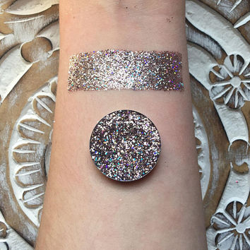 Holographic pale pink pressed glitter eyeshadow, 26mm magnetic pan or jar