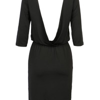 Black Half Sleeve Backless Bodycon Dress