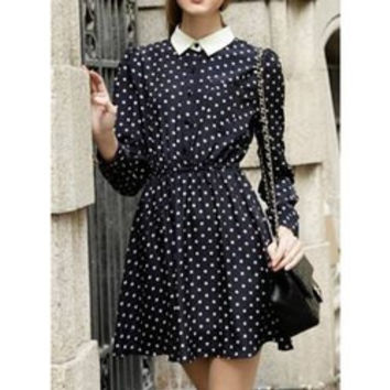 Vintage Peter Pan Collar Long Sleeve Polka Dot Elastic Waist Women's Dress